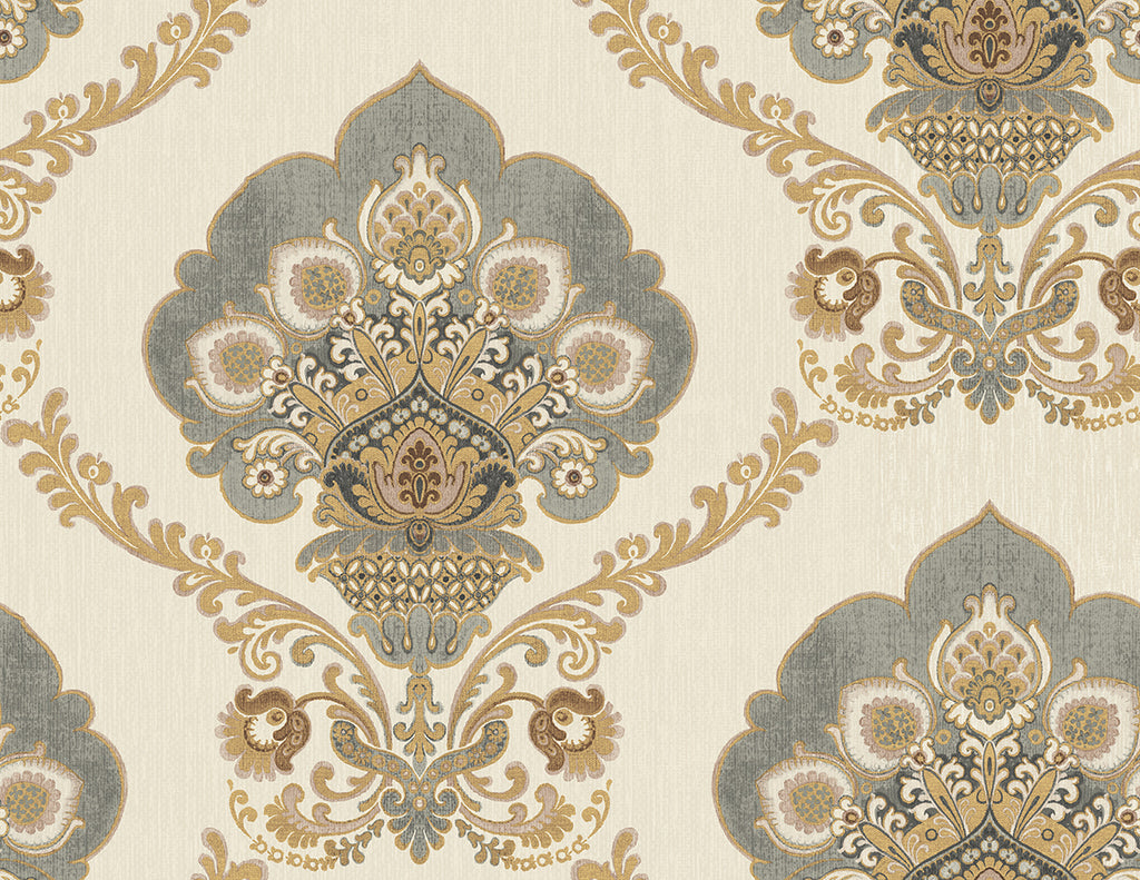 Sample Ornate Fanned Damask Wallpaper in Silver and Gold from the Caspia Collection by Wallquest