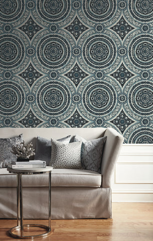Ornate Round Tile Wallpaper from the Caspia Collection by Wallquest