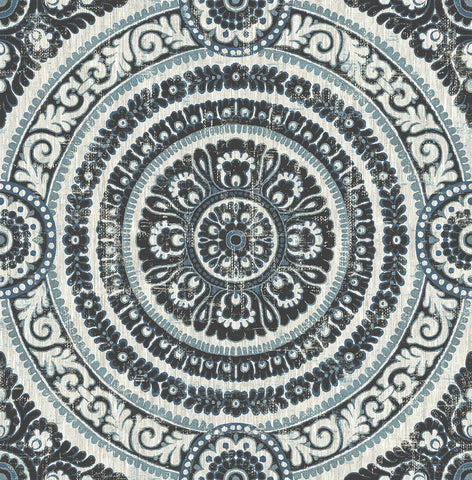 Ornate Round Tile Wallpaper in Black and Blue from the Caspia Collection by Wallquest