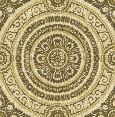 Ornate Round Tile Wallpaper in Green and Gold from the Caspia Collection by Wallquest