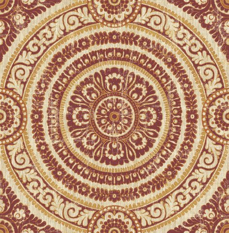 Ornate Round Tile Wallpaper in Red from the Caspia Collection by Wallquest