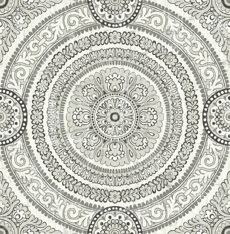 Ornate Round Tile Wallpaper in Silver from the Caspia Collection by Wallquest