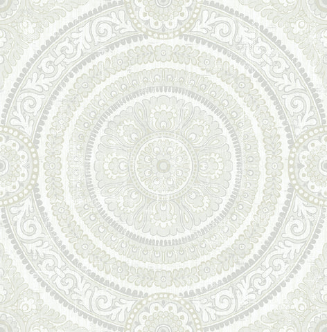 Ornate Round Tile Wallpaper in White from the Caspia Collection by Wallquest