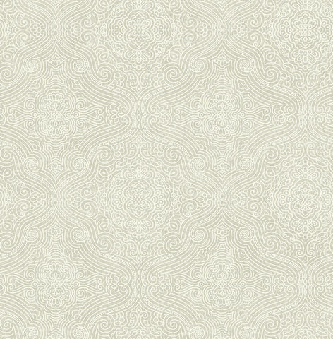 Ornate Tilework Wallpaper in Silver from the Caspia Collection by Wallquest