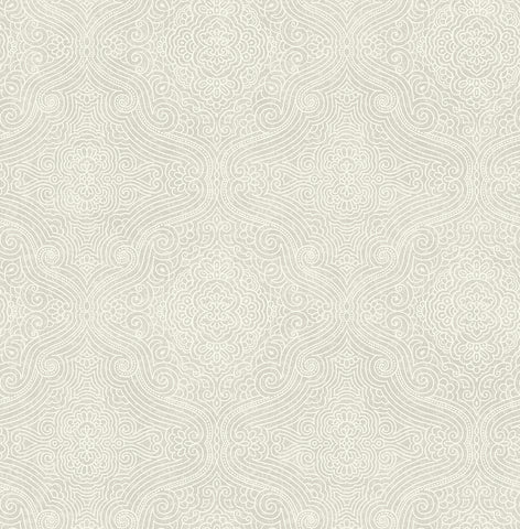 Ornate Tilework Wallpaper in Warm Silver from the Caspia Collection by Wallquest