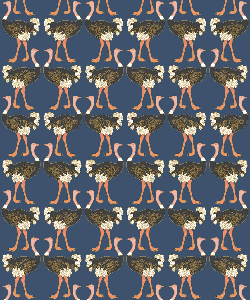 Sample Ostrich Strut Wallpaper in Midnight Stroll from the Wallpaper Republic Collection by Milton & King