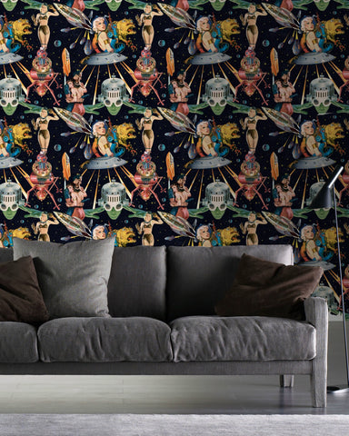 Outer Worlds Wallpaper in Black and Multi from the Eclectic Collection by Mind the Gap