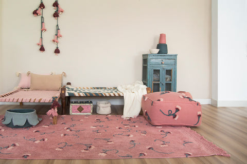 English Garden Pouffe in Ash Rose design by Lorena Canals