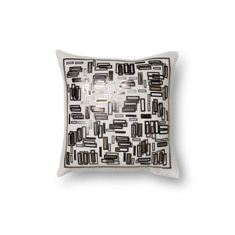 White & Gold Embroidered Pillow by Loloi
