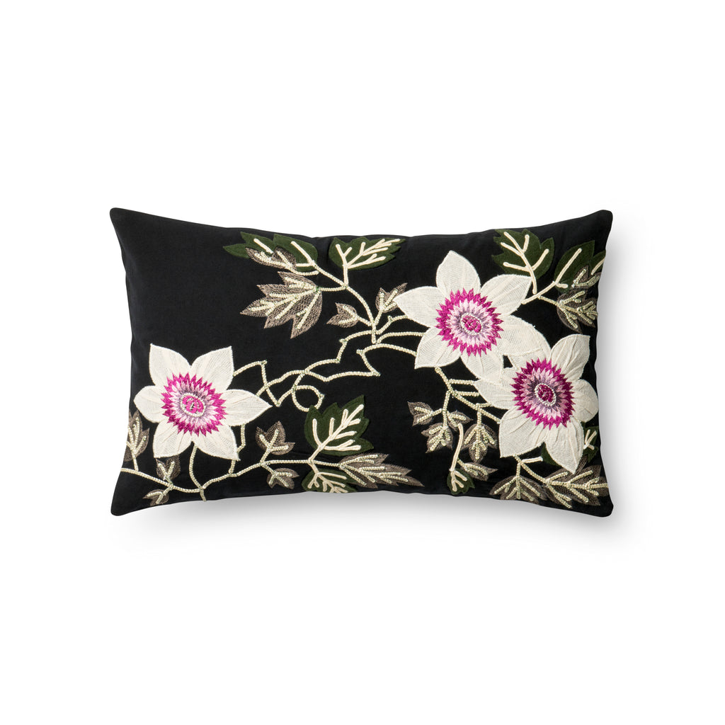 Black & Ivory Embroidered Pillow by Loloi