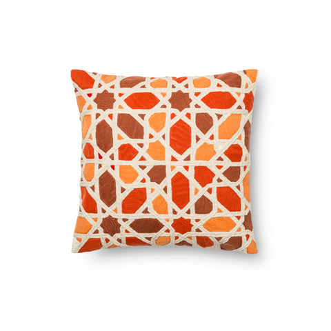 Orange & Red Embroidered Pillow by Loloi