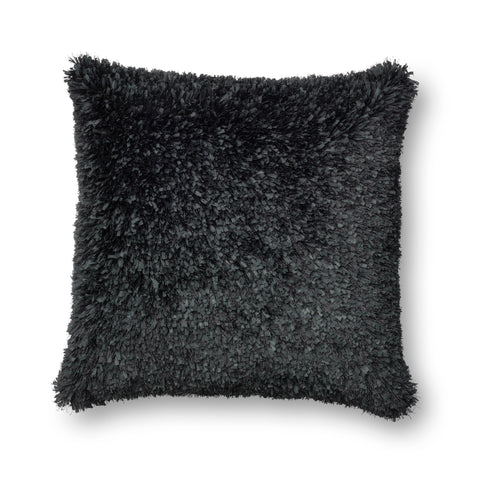 Black Ribbon Shag Pillow by Loloi