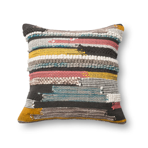 Multi Colored Multi Texture Pillow by Loloi