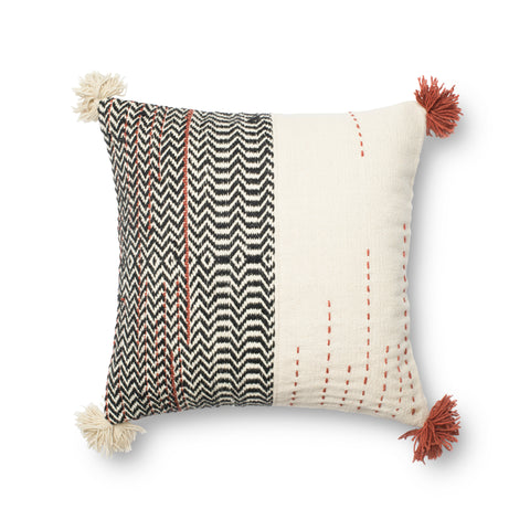 Black & Ivory Dhurri Style Pillow by Loloi