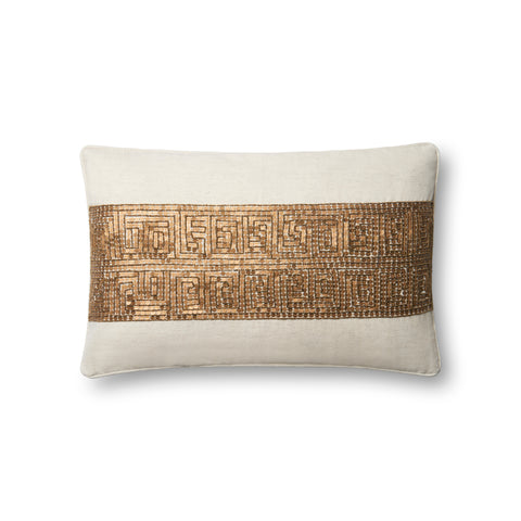 Ivory & Gold Pillow by Loloi