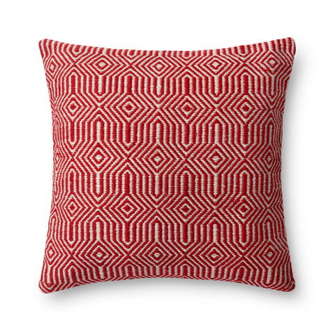 Red & Ivory Indoor/Outdoor Pillow by Loloi
