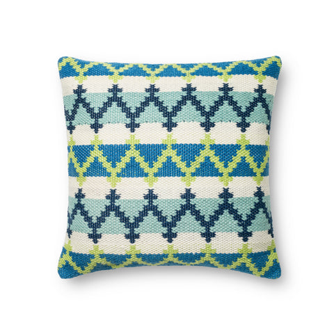 Blue & Green Indoor/Outdoor Pillow by Loloi