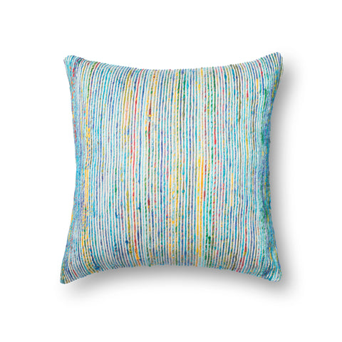 Recycled Sari Silk Pillow in Blue by Loloi