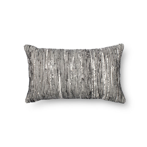 Recycled Sari Silk Pillow in Black & White by Loloi