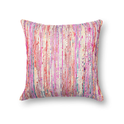 Recycled Sari Silk Pillow in Red by Loloi