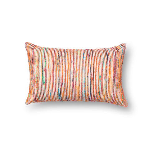 Recycled Sari Silk Pillow in Rust by Loloi