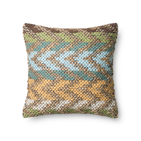 Green & Multi Dhurri Style Pillow by Loloi