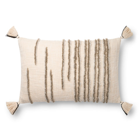 Striped Natural & Stone Pillow by Loloi