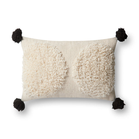 Shaggy Ivory & Black Pillow by Justina Blakeney × Loloi