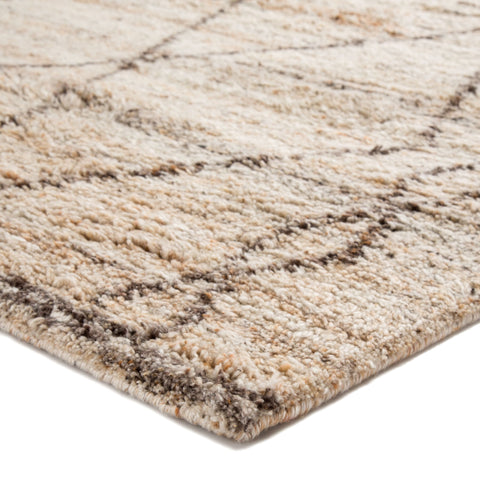 Murano Hand-Knotted Trellis Tan & Brown Area Rug