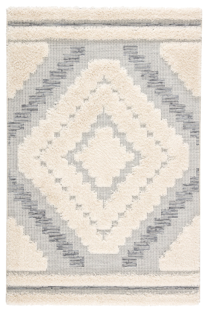 Sani Indoor/ Outdoor Geometric Gray/ Cream Rug design by Jaipur