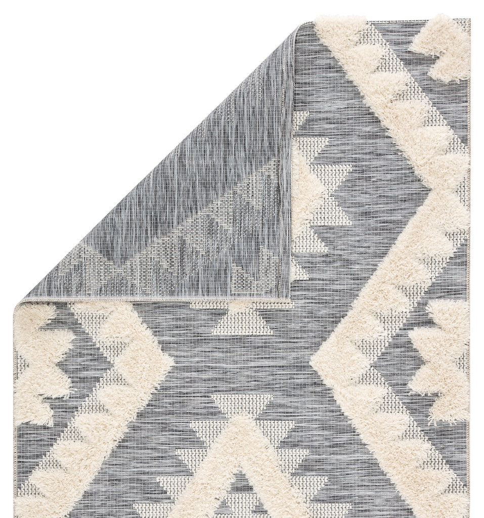 Makaya Indoor/ Outdoor Geometric Gray/ Cream Rug design by Jaipur