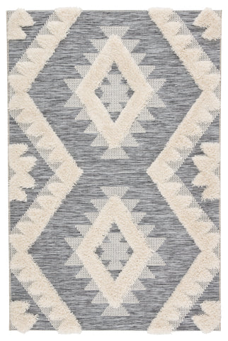 Makaya Indoor/ Outdoor Geometric Gray & Cream Area Rug