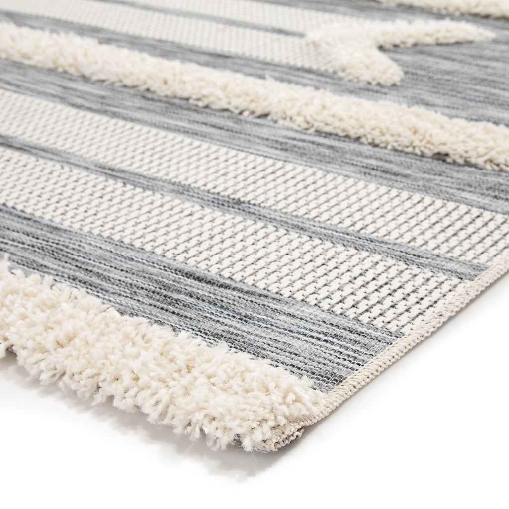 Hanai Indoor/ Outdoor Tribal Gray/ Cream Rug design by Jaipur