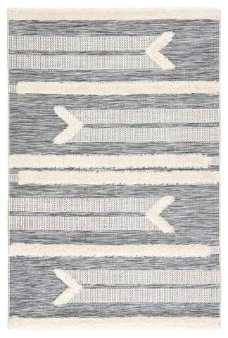 Hanai Indoor/ Outdoor Tribal Gray & Cream Area Rug