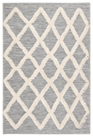 Bandalier Indoor/ Outdoor Trellis Gray/ Cream Rug design by Jaipur