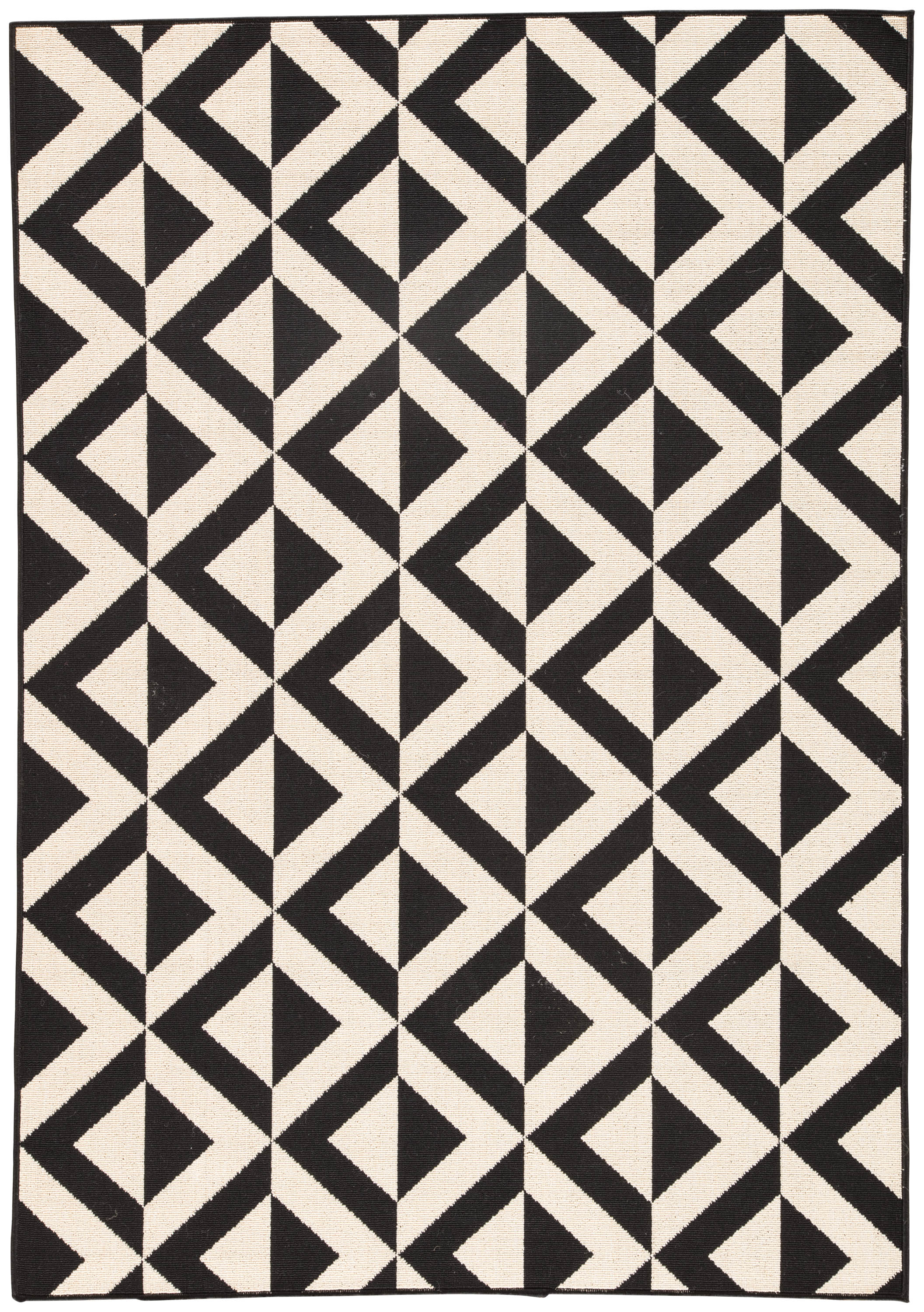 Marquise Indoor Outdoor Geometric Black Cream Area Rug Burke Decor