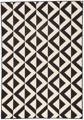 Marquise Indoor/ Outdoor Geometric Black & Cream Area Rug