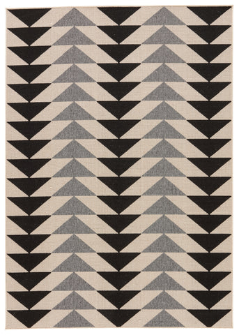 Mckenzie Indoor/ Outdoor Geometric Black & Cream Area Rug design by Jaipur