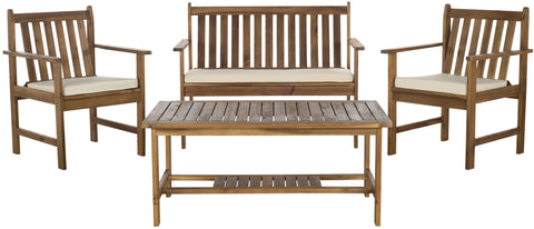 Burbank 4 Piece Outdoor Set in Teak & Beige design by Safavieh