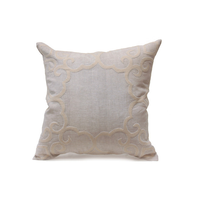 "Peking 24"" Pillow in Light Natural and Mushroom design by Bliss Studio"
