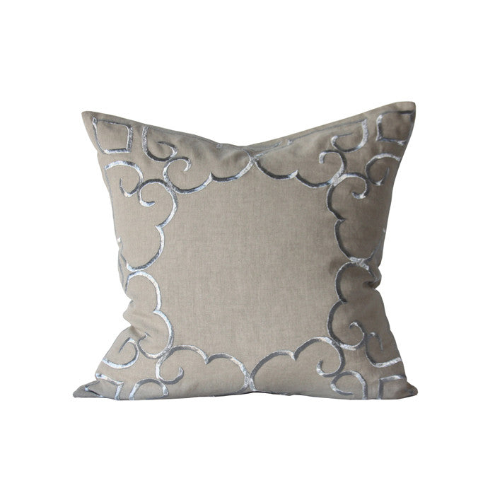 "Papillon II 24"" Pillow in Natural and Silver design by Bliss Studio"