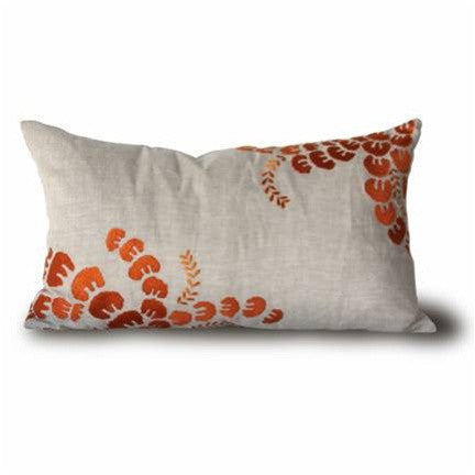 "French Sprigs 14"" x 24"" Pillow in Natural and Pumpkin design by Bliss Studio"