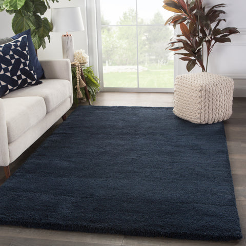 Serra Hand-Knotted Solid Blue Area Rug