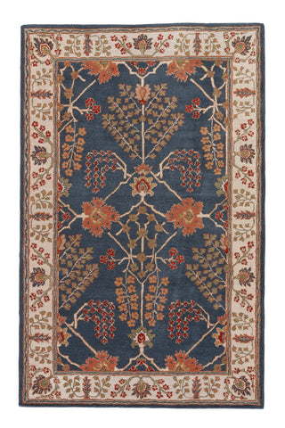 Chambery Floral Rug in Dark Blue & Lily White design by Jaipur