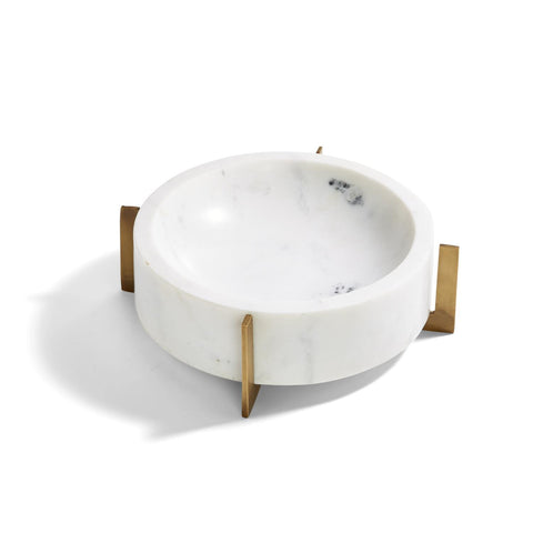 Stahl White Marble Bowl with Gold Stand
