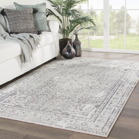 Langley Indoor/ Outdoor Medallion Gray & Blue Area Rug