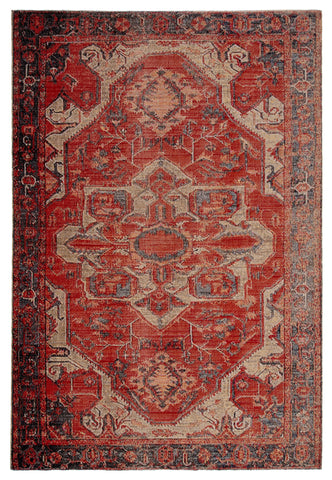 Leighton Indoor/ Outdoor Medallion Red & Blue Area Rug