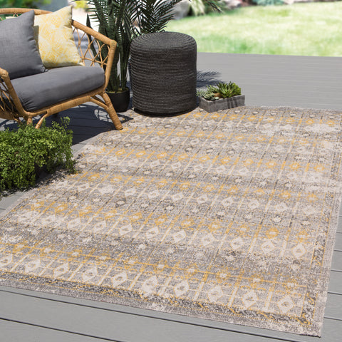 Giralda Indoor/Outdoor Trellis Light Gray & Yellow Rug design by Jaipur