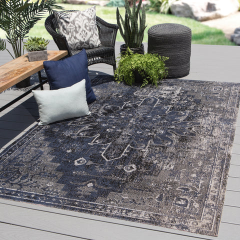 Isolde Medallion Rug in Mood Indigo & Gargoyle design by Jaipur Living