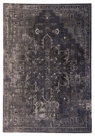 Isolde Medallion Rug in Mood Indigo & Gargoyle design by Jaipur